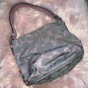Mauve and gray Coach bag